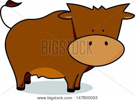 Simple Flat Cartoon Brown Cow or Bull