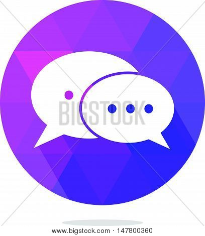 Modern Low Poly Message or Chat or Bubble Speech Icon with Long Shadow