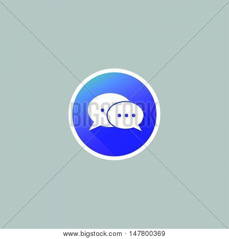 Modern Message or Chat or Bubble Speech Icon with Long Shadow