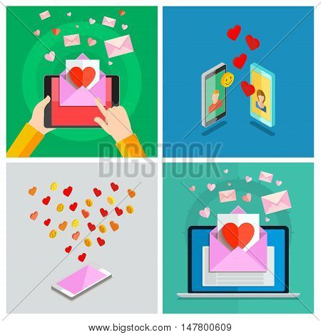 Love set. Valentines day illustration. Receiving or sending love emails for valentines day, long distance relationship. Flat design, vector illustration