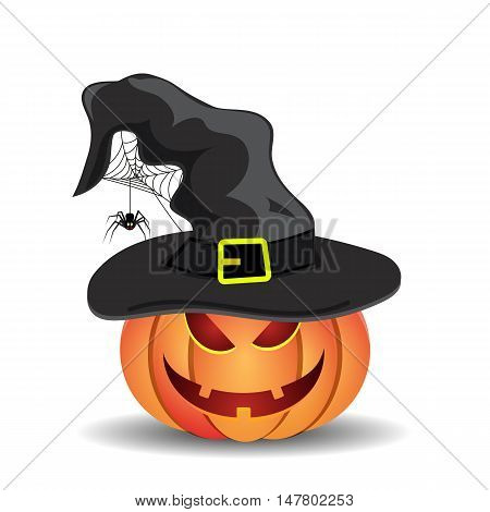 Halloween pumpkin with witches hat isolated on white background. vector illustration for Halloween design, website, flier, invitation card