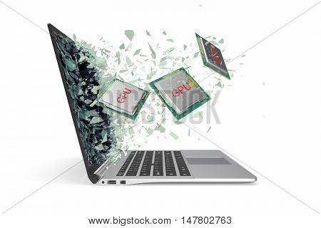 GPU processor exit by a monitor of laptop screen isolated on white background. 3d illustration.