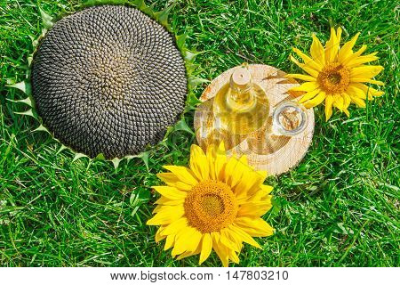 bottle of sunflower oil and sunflower with seeds on the grass. vertical