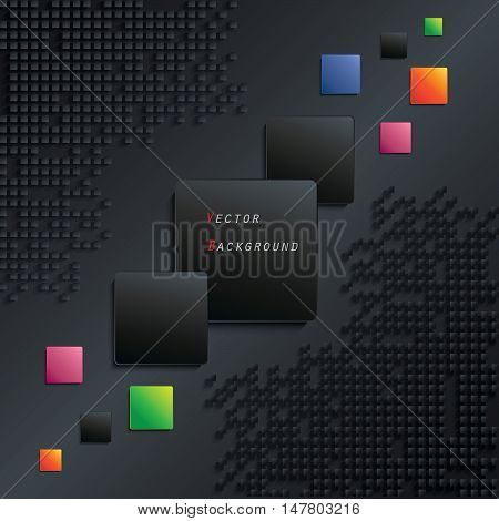 Abstract black geometric background with color squares (can be used in web design cover design book design website background advertising)