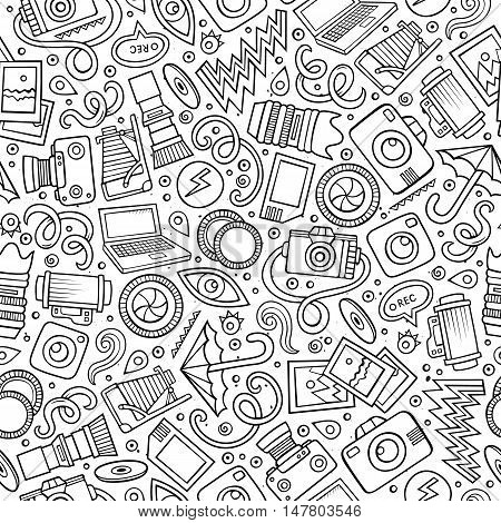 Cartoon cute hand drawn Photo seamless pattern. Line art detailed, with lots of objects background. Endless funny vector illustration. Sketch photographer backdrop.