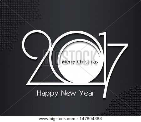2017 new year creative design in black and white colors on dark background for your greetings card flyers invitation posters brochure banners calendar