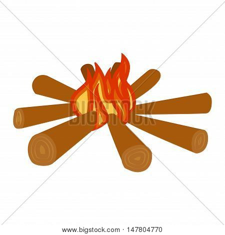 Isolated illustration of campfires logs burning bonfire. Bonfires on white background. Vector bonfire isolated and wood explosion glowing bonfire isolated. Red nature burning blazing power vector. poster