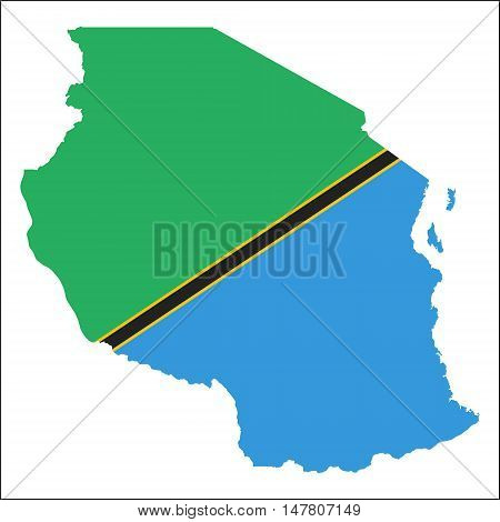 Tanzania, United Republic Of High Resolution Map With National Flag. Flag Of The Country Overlaid On