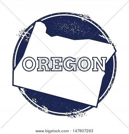 Oregon Vector Map. Grunge Rubber Stamp With The Name And Map Of Oregon, Vector Illustration. Can Be
