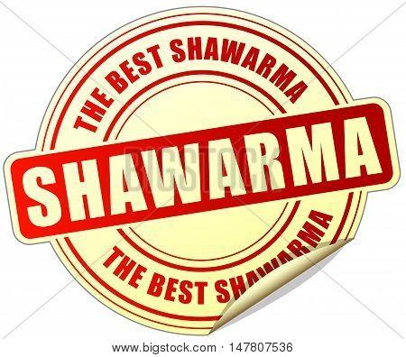 Illustration of shawarma sticker on white background