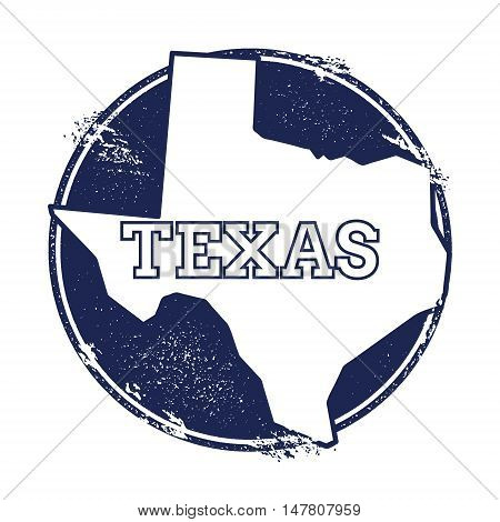 Texas Vector Map. Grunge Rubber Stamp With The Name And Map Of Texas, Vector Illustration. Can Be Us