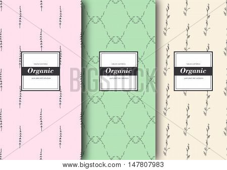 Set of labels, packaging for organic shop or natural cosmetics. Vector floral patterns with tender colors - beige, pink and green. Template for packing product.