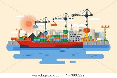 Stock vector flat style illustration loading of cargo ship in sea or river port, carriage of goods by water, delivery by sea, large wholesale shipping and transportation, Cranes in industrial area