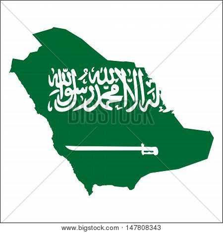 Saudi Arabia High Resolution Map With National Flag. Flag Of The Country Overlaid On Detailed Outlin