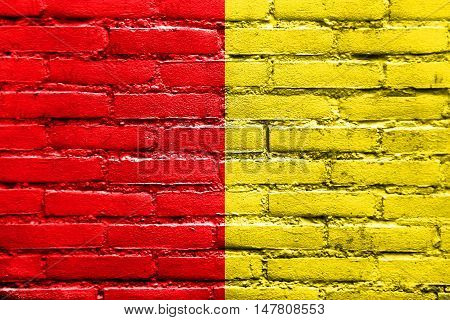 Flag Of Liege, Belgium, Painted On Brick Wall