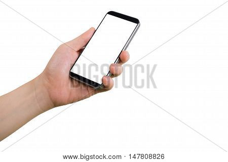 human left hand hold smart phone tablet cellphone with white blank screen on isolate white background.