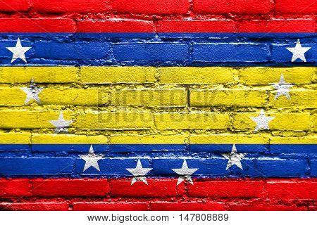 Flag Of Loja Province, Ecuador, Painted On Brick Wall