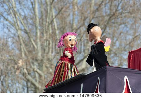 Puppets in a performance in Retiro Park, Madrid, Spain