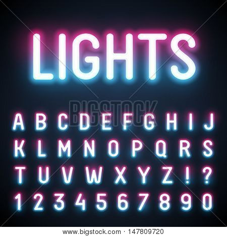 Glowing neon tube font. Retro text effect. Latin letters from A to Z and numbers from 0 to 9. Pink to light blue gradient light.