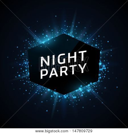 Night Party advertisement template. Blue dust and beams on dark background. Geometric shape banner with text.