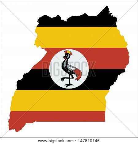 Uganda High Resolution Map With National Flag. Flag Of The Country Overlaid On Detailed Outline Map