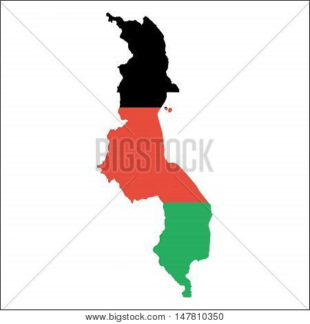Malawi High Resolution Map With National Flag. Flag Of The Country Overlaid On Detailed Outline Map