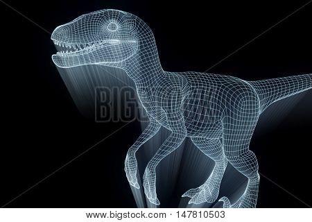 Dinosaur Raptor in Hologram Wireframe Style. Nice 3D Rendering