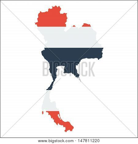 Thailand High Resolution Map With National Flag. Flag Of The Country Overlaid On Detailed Outline Ma