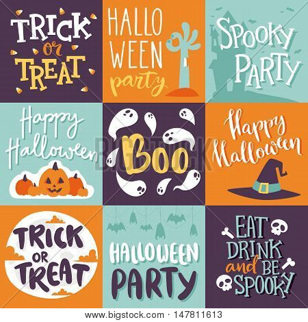 Set of happy halloween greeting cards. Vector illustration party invitation design with emblem. Typographic halloween invitation cards template. Halloween cover design eat, drink and be scary.