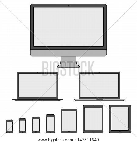 mockup gadget and device icons set in the style thin line flat design isolated on white background. stock vector illustration eps10