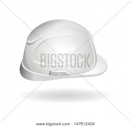 Working helmet (side view) hard hat logo icon. Realistic vector illustration isolated on white background