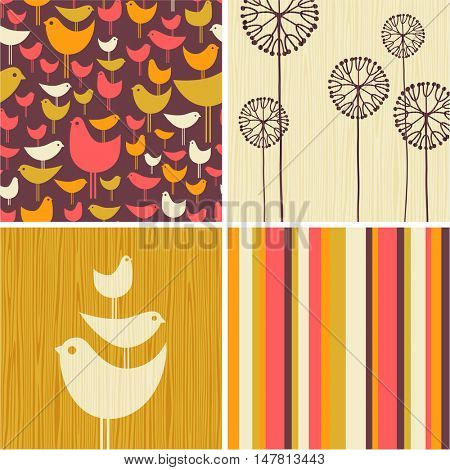 Coordinating autumn designs of retro birds, flowers, stripes for greeting cards, banners, stationary