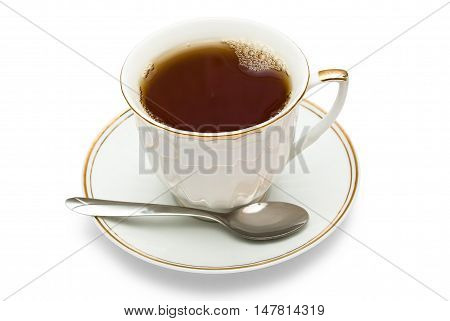Teacup witch teaspoon isolated on white background
