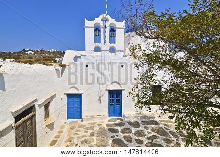 traditional cycladic church at Apollonia Sifnos Greece