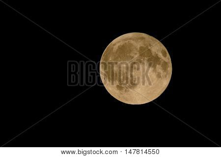 Closeup of full moon in September known as