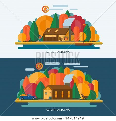 Autumn landscape vector illustrations. Modern private house, autumn forest, lake shore with the sailboat. Set of banners in flat style. Contains transparency