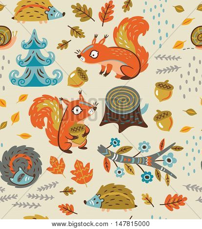 Vintage forest seamless pattern with squirrels. Funny cartoon background with squirrels, leaves, nuts and crew cut in vector