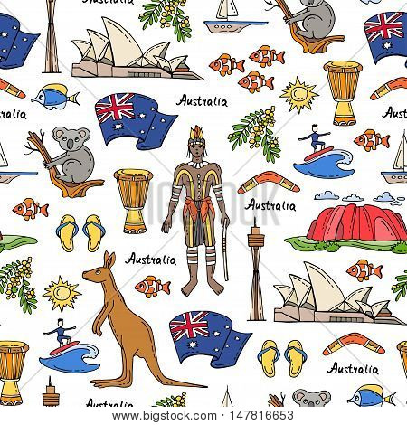 Vector seamless pattern with hand drawn colored symbols of Australia. Pattern on the theme of travel and tourism. Background for use in design, packing, web site, fabric