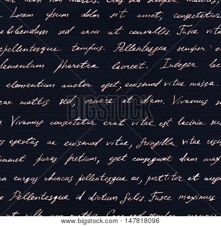 Vintage hand written letter - seamless text Lorem ipsum. Repeating note pattern, handwritten words background