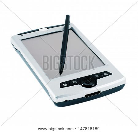 Personal digital assistant and stylus isolated on white background