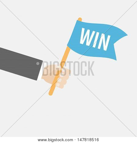 Businessman hand holding flag with word Win. Motocross sport finishing. Car racing competition atribute. Flat design style. White background. Isolated. Vector illustration