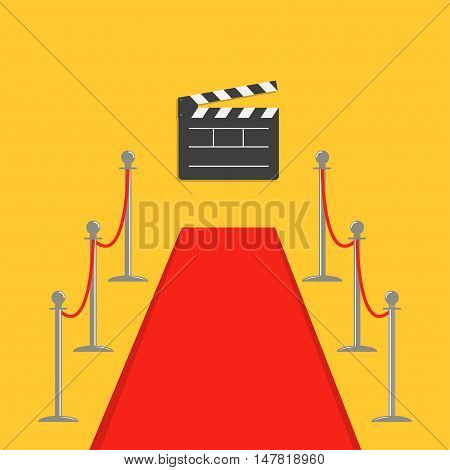 Red carpet and rope barrier golden stanchions turnstile Clapper movie cinema board. Isolated template Yellow background. Flat design Vector illustration
