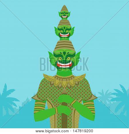 Thai Temple Guardian Giant Thailand Yaksha demon statue Buddhism symbol in Bangkok Asian spirit sculpture in tropical forest