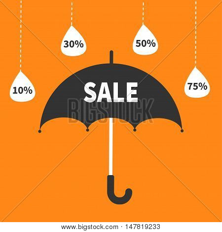Monsoon season offer. Black umbrella. Hanging dash line raining drops. 10 30 50 75 persent off Sale banner poster. Flat design. Orange background. Vector illustration