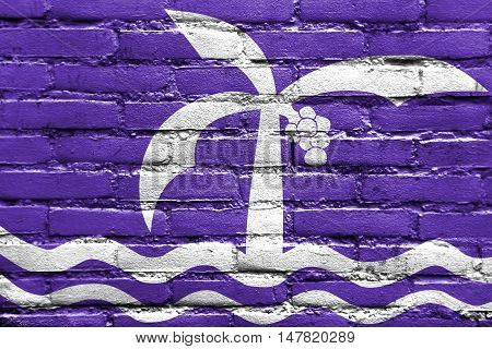 Flag Of Macae, Brazil, Painted On Brick Wall