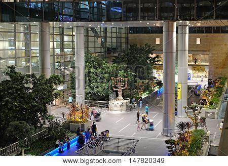 BEN GURION ISRAEL - AUGUST 23 2016: Menorah Salvador Dali authorship at Ben Gurion airport arrivals area