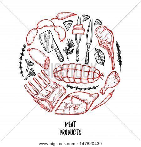 Hand Drawn Vector Illustration - Meat Products (chicken, Pork, Steak, Sausage, Salami, Tomato, Herbs