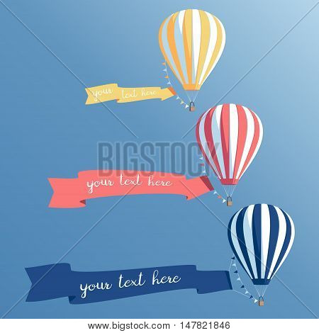 Hot air balloons with banners flying in the sky colorful hot air balloons set with ribbons vector illustration