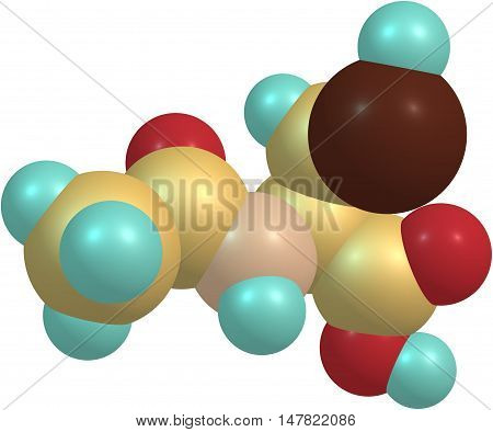 Acetylcysteine medication used to treat paracetamol overdose and to loosen thick mucus such as in cystic fibrosis or chronic obstructive pulmonary disease. 3d illustration