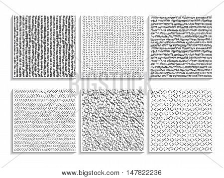 Doodle Patterns Set Sketch Textures Abstract Black